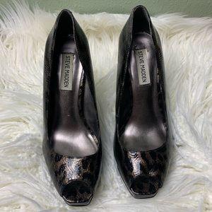 Steve Madden sz 8 Stiletto peep toe heels cheetah